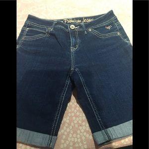Girls longer jean shorts size 14 justice premium